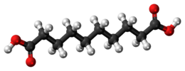 Ball-and-stick model of the sebacic acid molecule