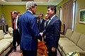 Secretary Kerry Shakes Hands With Kurdistan Regional Government Prime Minister Barzani Before Their Meeting in Baghdad (26307199415).jpg