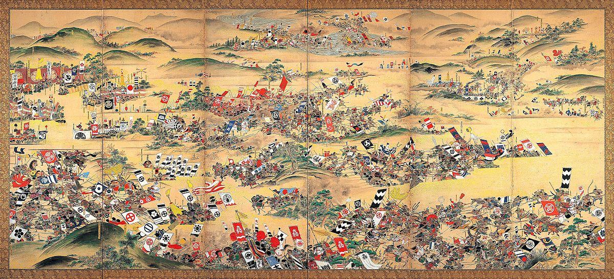 関ヶ原の戦いを描いた江戸時代の幕。 それは1600年10月21日に始まり、合計160,000人が向かい合った。