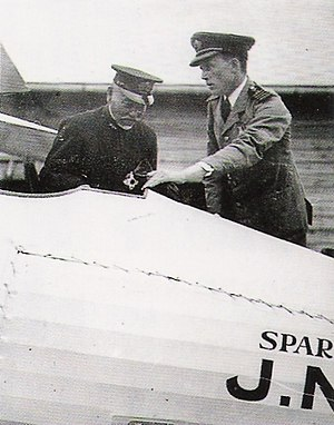 Sempill Mission - Captain Sempill showing a Sparrowhawk to Admiral Togo Heihachiro, 1921.