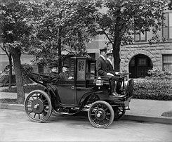 Senator George P. Wetmore of Rhode Island in a Krieger electric automobile.jpg