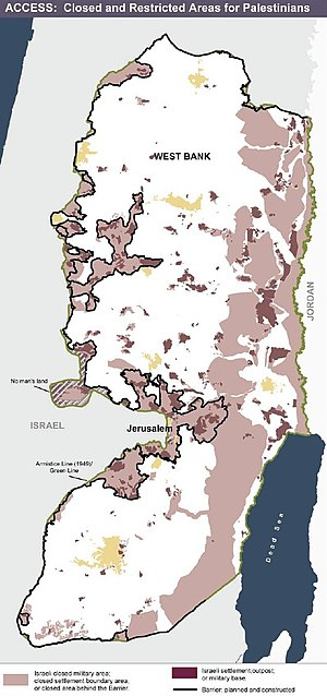 Israeli settler violence - Settlements (darker pink) and areas of the West Bank (lighter pink) where access by Palestinians was closed or restricted at the time. Source: United Nations Office for the Coordination of Humanitarian Affairs, January 2006.