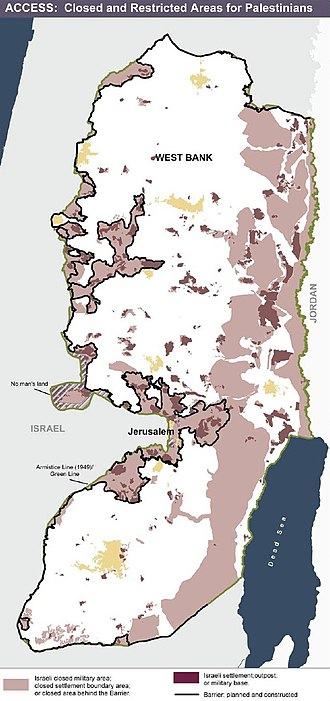 West Bank Areas in the Oslo II Accord - Area C with Israeli settlements and Israeli military checkpoints, where the access is closed and restricted to Palestinians.