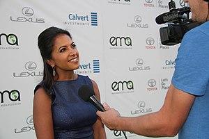 Shalini Kantayya - Kantayya being interviewed about her film Catching the Sun at the Environmental Media Awards in Los Angeles, 2016.
