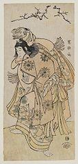 Ichikawa Yaozō III as a kamuro performing a Lion Dance