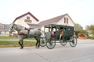 LaGrange County, Indiana - Amish buggy rides are offered in tourist-oriented Shipshewana, Indiana.