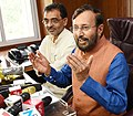 Shri Prakash Javadekar addressing a press conference after takes charge as Union Minister for Human Resource Development, in New Delhi.jpg