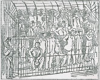 Gangster - Sketch of the 1901 maxi trial of suspected mafiosi in Palermo. From the newspaper L'Ora, May 1901