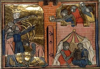 Siege of Shaizar - John II directs the siege of Shaizar while his allies sit inactive in their camp, French manuscript 1338.