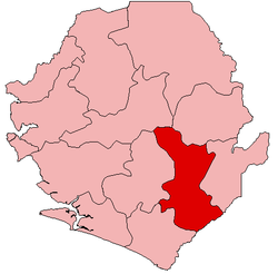 Location of Kenema District in Sierra Leone