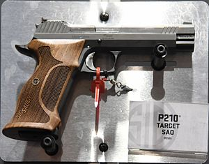 SIG Sauer P210 - A SIG Sauer P210-A target model taken at the Great American Outdoor Show in Harrisburg, Pa., USA, Made in Exeter, N.H., USA