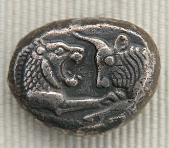 Kabul hoard - Silver coin issued by King Croesus of Lydia (561–545 BC), obverse: facing busts of lion and bull.