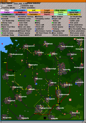 Simutrans - Map of a Simutrans game world, showing cities and factories