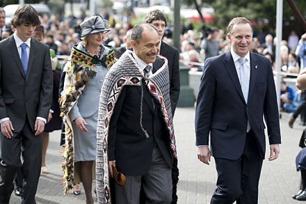 Jerry Mateparae with Prime Minister John Key at the ceremony at which he was sworn in as Governor-General Sir Jerry Mateparae and John Key.jpg