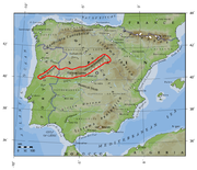 Map of the major geographic features of the Iberian Peninsula. The Sistema Central is just north of the 40° parallel.