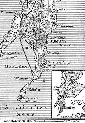 Situationsplan von Bombay (Mumbai)