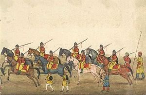 1st Horse (Skinner's Horse) - Skinner's Horse party, folio from 'Reminiscences of Imperial Delhi', an album by Sir Thomas Metcalfe, 1843.