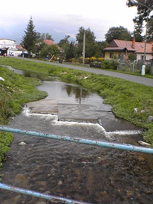 Veľký Slavkov - A brook streaming through the village center