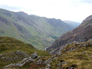 Glyder Fawr - Glyder Fawr viewed from the southwest, with the Nant Peris Valley