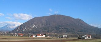 Mount Saint Mary, the highest hill in Ljubljana, with the peak Grmada reaching 676 m (2,218 ft) SmarnaGora.jpg