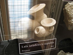 Prnjavor, Bosnia and Herzegovina - Smoke pipe made out of Sepiolite from Prnjavor displayed at National Museum of Bosnia and Herzegovina in Sarajevo.