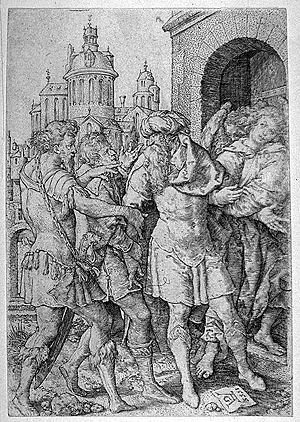 Vayeira - Lot prevents violence against the Angels (1555 engraving by Heinrich Aldegrever)