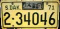 South Dakota 1971 license plate.png