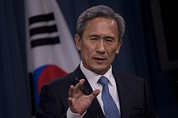 South Korea's Minister of National Defense Kim Kwan-jin makes a point during a joint press conference with Secretary of Defense Leon E. Panetta in the Pentagon 121024-D-TT977-086.jpg