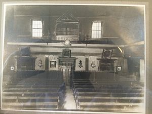 Conway Hall Ethical Society - The rear interior of South Place Ethical Chapel, Finsbury. Photo taken c. 1870