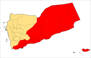 South Yemen Civil War - Governorates which previously formed the People's Democratic Republic of Yemen in red