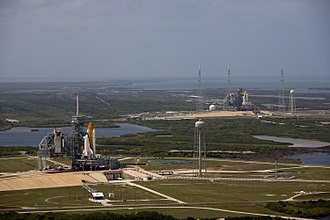 STS-125 - Atlantis and Endeavour were launch pad neighbors for the last time, in preparation for STS-125.
