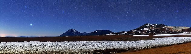 Panorama, with stars and snow