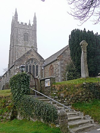 Cardinham - St Meubred's church (note the cross on the right)