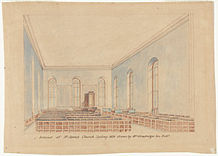 A faded old watercolour showing the church interior, with the walls painted blue.