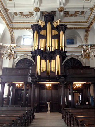 St Lawrence Jewry - Interior, looking east toward the organ at the rear of the church