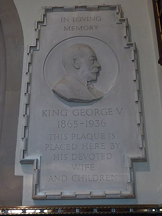 Sandringham House - Memorial plaque to George V in the Church of St Mary Magdalene