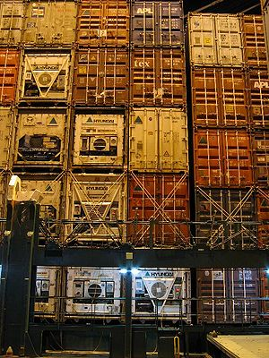 Refrigerated container - Containers loaded on a container ship with the refrigeration units visible