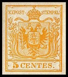 Il pezzo da 5 centesimi, della prima serie di francobolli stampata in Italia, del Regno Lombardo Veneto