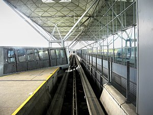 Third rail - London Stansted Airport people mover, showing rail switch