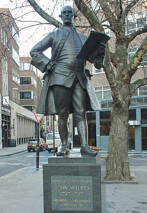 Fetter Lane - Statue of the politician John Wilkes on Fetter Lane.