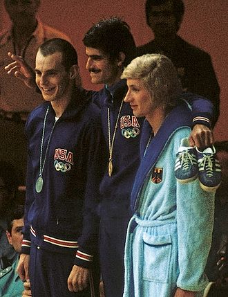 Werner Lampe - Steve Genter, Mark Spitz and Werner Lampe after winning the 200 m freestyle at the 1972 Olympics