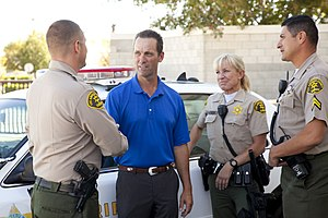 Steve Knight (politician) - Steve Knight speaks with members of the Los Angeles County Sheriff's Department