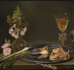 Frans Ykens - Still life with shrimp, ramps, flowers and a glass vase