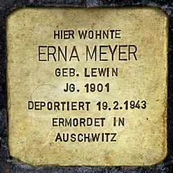 Photo of Erna Meyer brass plaque