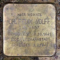 Photo of Felix Wolff brass plaque