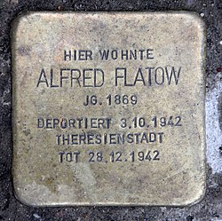 Photo of Alfred Flatow brass plaque