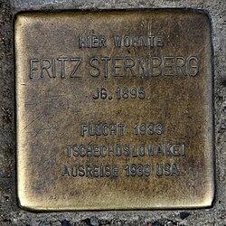 Photo of Fritz Sternberg brass plaque