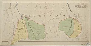 Borders of Suriname - Detailed map of the disputed areas.