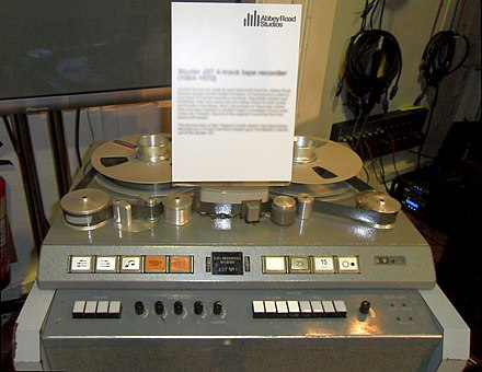 One of EMI's Studer J37 four-track tape recorders, the machines used to record Sgt. Pepper Studer J37 4-track tape recorder (1964-1972), Abbey Road Studios.jpg