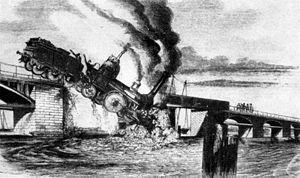 Berlin–Magdeburg railway - Crash of the locomotive Jupiter into the Havel, 1855